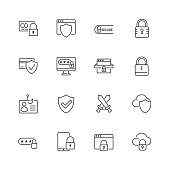 Security and protection vector line icons. Editable stroke. eps 10