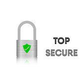 Security key lock, Steel metal lock, Vector, Illustration.