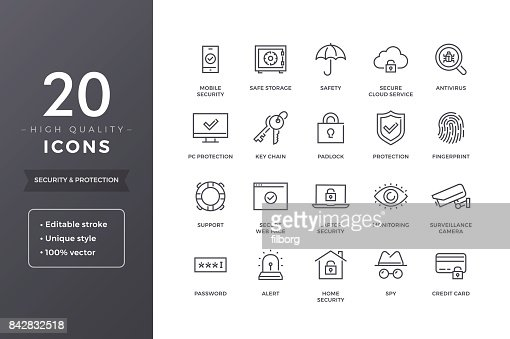 Security Line Icons : stock vector