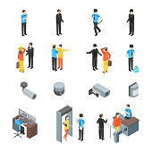 Security System People and Equipment 3d Icons Set Isometric View Include of Alarm and Cctv. Vector illustration of Icons
