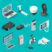Security system vector isometric elements set isolated from background. Realistic illustrations of security equipment objects. Collection in 3d style.