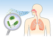 See Bacteria and Fungi into respiratory of human from breathe with Magnifying glass. Illustration about air pollution.