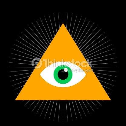 b62762e5d7ef3 Ver los ojos. Ojo todo visión dentro de triángulo pirámide. Ilustración de  vector.