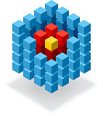 Segmented blue cube infographic element with red hot core