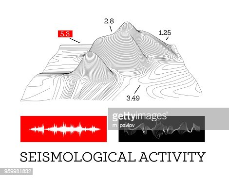 Seismic activity infographics vector illustration with sound waves, graphs and topological relief : stock vector