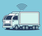 Futuristic autonomous self-driving semi trailer truck. Future of cargo shipping and automation. Simple flat vector style cartoon illustration.