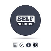Self service sign icon. Maintenance button. Report document, information and check tick icons. Currency exchange. Vector