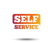 Self service sign icon. Maintenance button. Blurred gradient design element. Vivid graphic flat icon. Vector