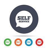 Self service sign icon. Maintenance symbol in speech bubble. Round colourful buttons with flat icons. Vector
