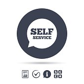 Self service sign icon. Maintenance symbol in speech bubble. Report document, information and check tick icons. Currency exchange. Vector