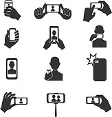 Selfie photo vector icons set. Photography with use smartphone and stick illustration