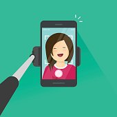 Selfie stick and smartphone making a photo of yourself vector illustration, flat cartoon young happy girl with mobile phone make self photo