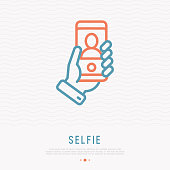Selfie thin line icon. Hand holding smartphone with silhouette. Modern vector illustration.