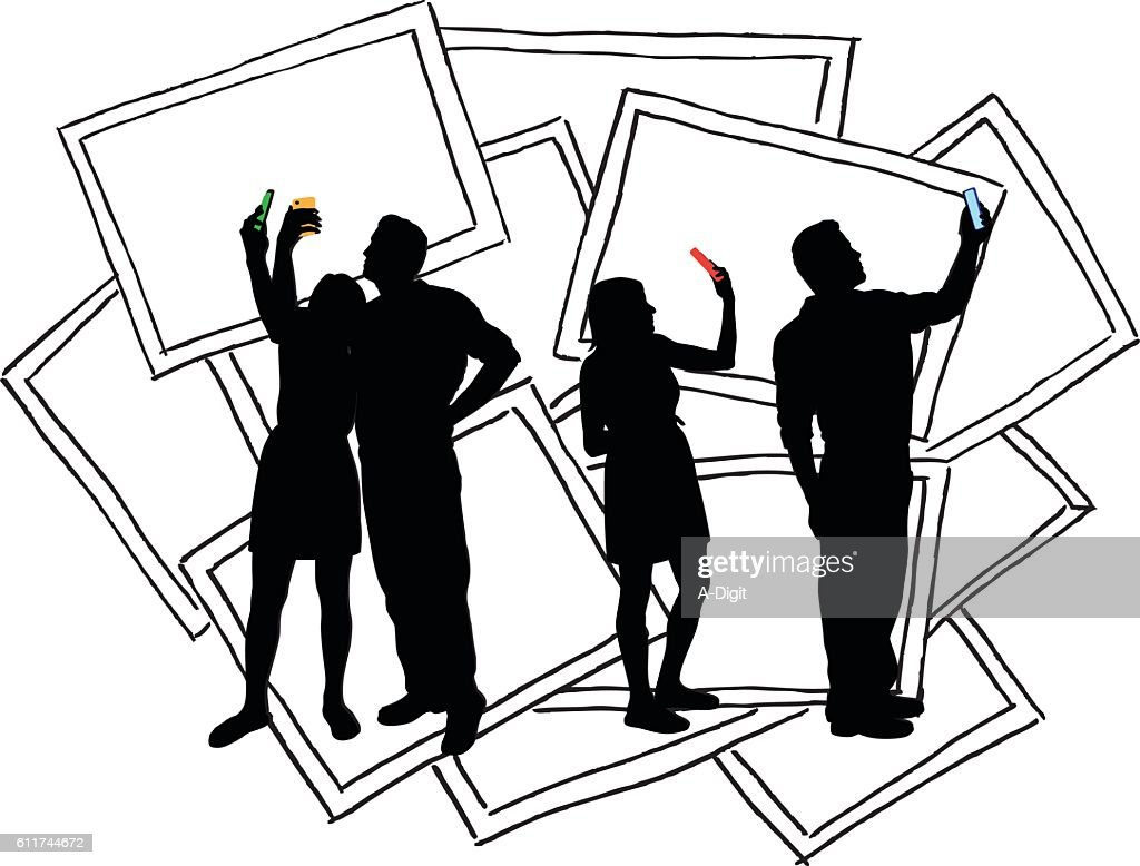 talking photograph of selves stock photos and pictures getty images Female Construction Worker selfies couple vector silhouette