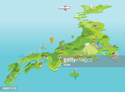 Semiabstract Japan Map Eco Islands Fudzijama Vector Art Getty Images - Japan map vector art