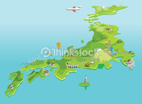 Semiabstract Japan Map Eco Islands Fudzijama Vector Art   Thinkstock