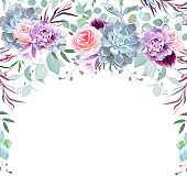 Semicircle garland frame arranged from flowers, leaves, succulents and berries on white background. Rose, carnation, echeveria, eucalyptus, bellflower, agonis. All elements are isolated and editable