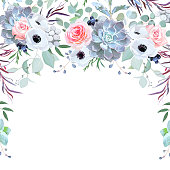 Semicircle garland herbal frame arranged from flowers, branches, leaves, succulents and berries on white background. Rose, anemone, echeveria, eucalyptus,agonis. All elements are isolated and editable