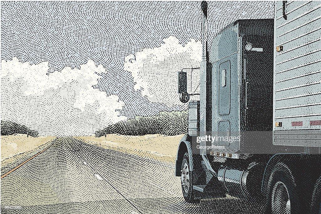 Semi-Truck on the Open Road : Vector Art