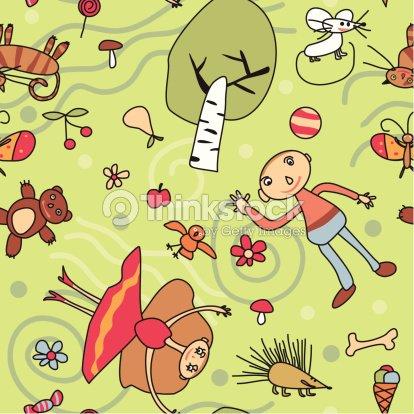 Semless Motivo Stilizzato Disegno Per Bambini Arte Vettoriale