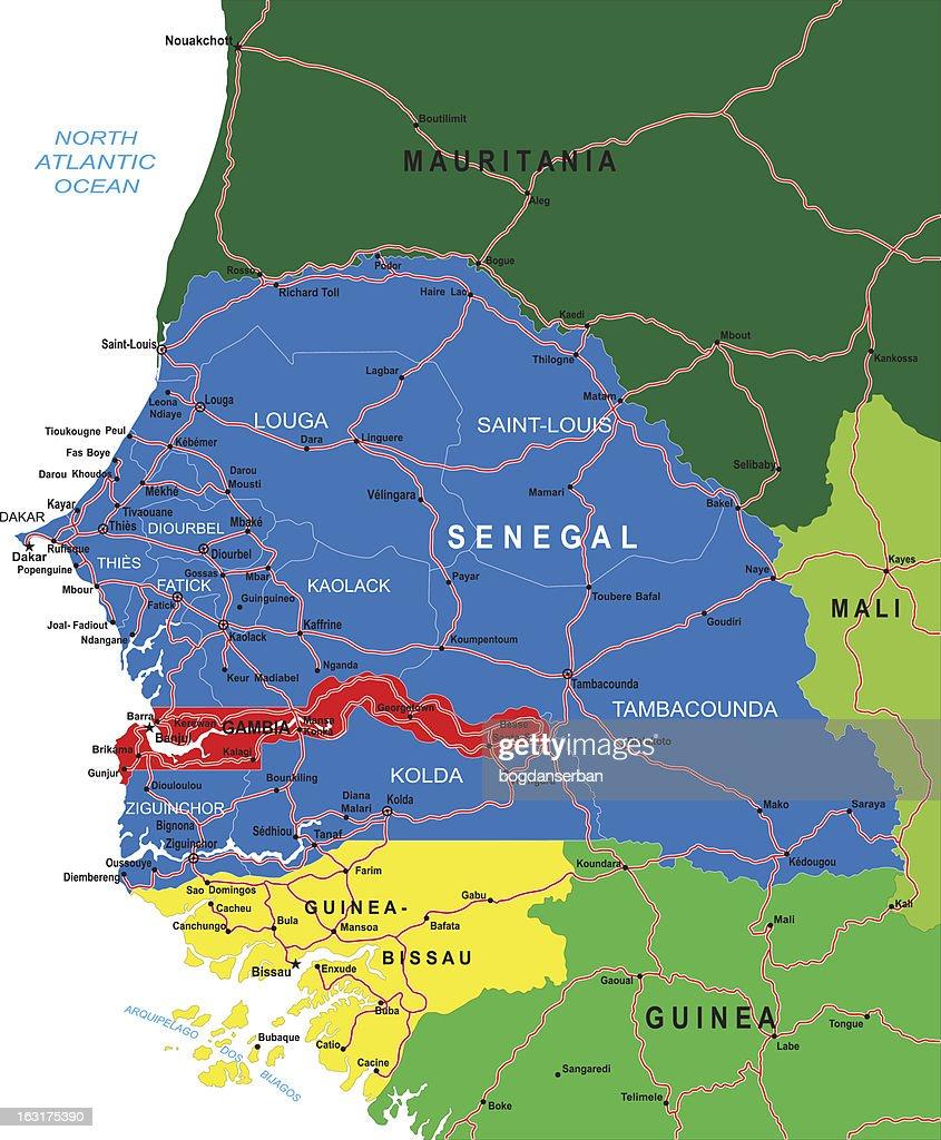 Senegal Map Vector Art Getty Images - Senegal map vector