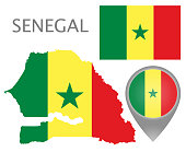 Colorful flag, map pointer and map of Senegal in the colors of the Senegalian flag. High detail. Vector illustration
