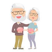 Senior carrying retirement savings money. Senior with piggy bank.