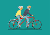 Senior man and senior woman together riding tandem bike on teal background. Concept happy senior couple. Vector illustration.