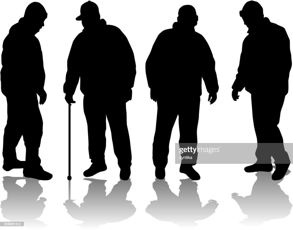 Senior .Silhouettes of people. : Vector Art