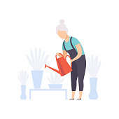 Senior woman character watering flowers with can, elderly people leading an active lifestyle social concept vector Illustration isolated on a white background.