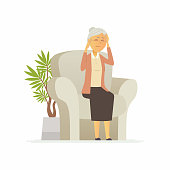 Senior woman with a headache - cartoon people characters isolated illustration on white background. An elderly person sitting in a chair and holding a head. Medical and healthcare concept