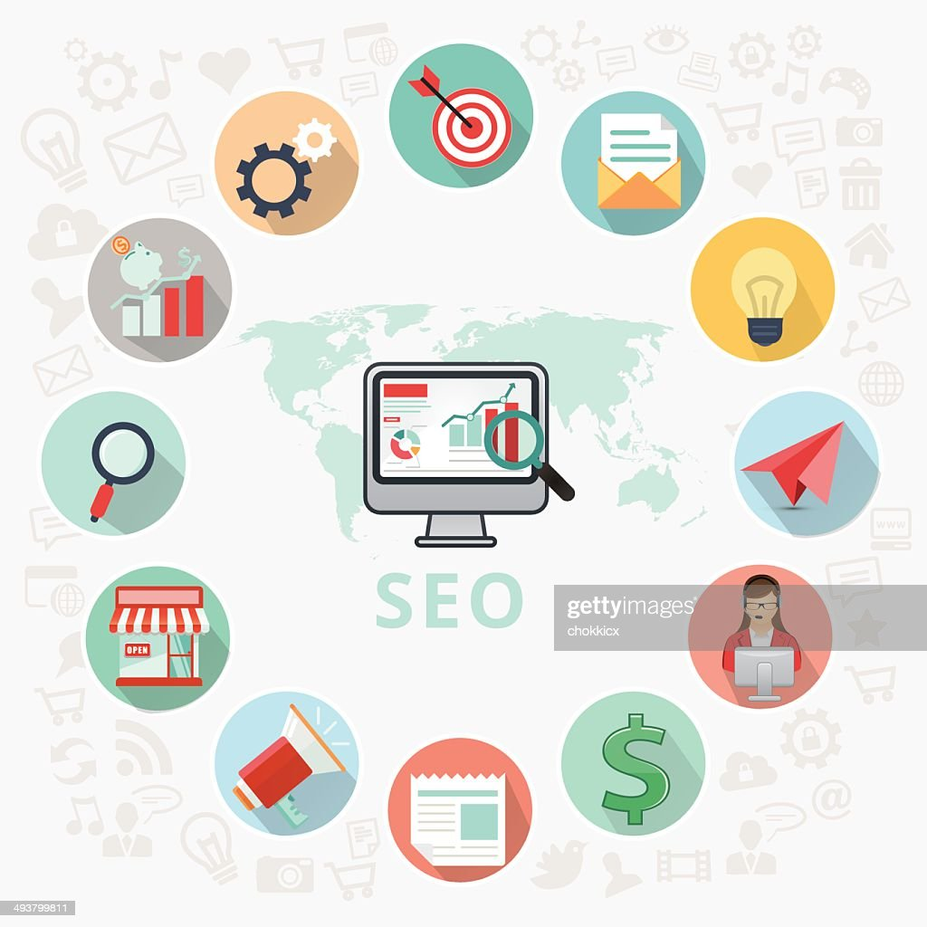 seo or search engine optimization icons : Vector Art