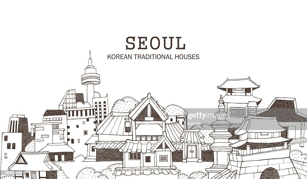 Seoul city and Korean architecture D : Vector Art