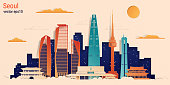 Seoul city colorful paper cut style, vector stock illustration. Cityscape with all famous buildings. Skyline Seoul city composition for design