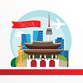 Seoul, detailed silhouette. Trendy vector illustration, flat style. Stylish colorful  landmarks. The concept for a web banner. Gwanghwamun - The symbol of South Korya.
