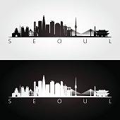 Seoul skyline and landmarks silhouette, black and white design, vector illustration.