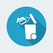Flat and isolated vector illustration on blue round icon with modern design and long shadow