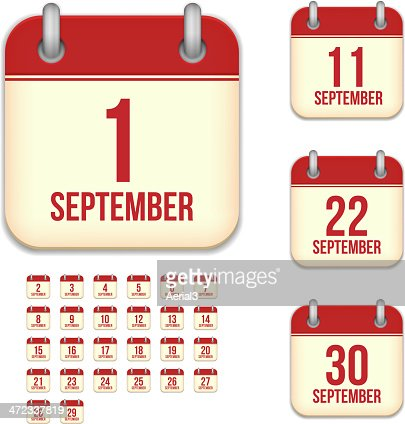 September days. Vector calendar icons : stock vector
