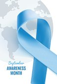 September is Prostate Cancer Awareness Month.  Prostate Cancer Ribbon Background. Vector illustration