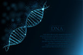 DNA sequence, DNA code structure with glow. Science concept background. Nano technology. Vector illustration, dark blue background with space for text