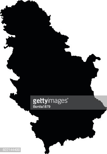 Serbia black map on white background vector : stock vector