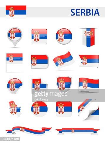 Serbia Flag Vector Set : stock vector