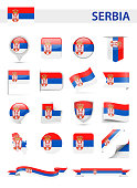 Serbia Flag Set - Vector Illustration