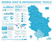 Serbia Map - Detailed Info Graphic Vector Illustration