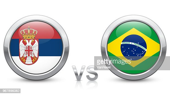 Serbia vs. Brazil - Match 41 - Group E - 2018 tournament. Shiny metallic icons buttons with national flags isolated on white background. : stock vector