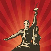 Soviet Worker and Collective Farmer with sickle and hammer in their hands vector illustration