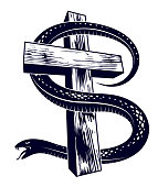 Serpent on a Cross vintage tattoo, snake wraps around Christian cross, God and Devil allegory, the struggle between good and evil, symbolic vector illustration or emblem.