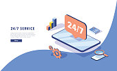 24\7 service concept or call center in isometric vector illustration. 24-7 round the clock or nonstop customer support background. Mobile self-service layout template for web banner. Customer care app