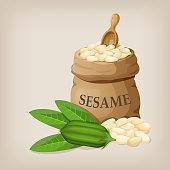 Sesame seeds in sack. Full burlap bag with sesame seeds. Vector illustration