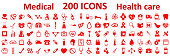 Set 200 Medecine and Health flat icons. Collection health care medical icons – stock vector